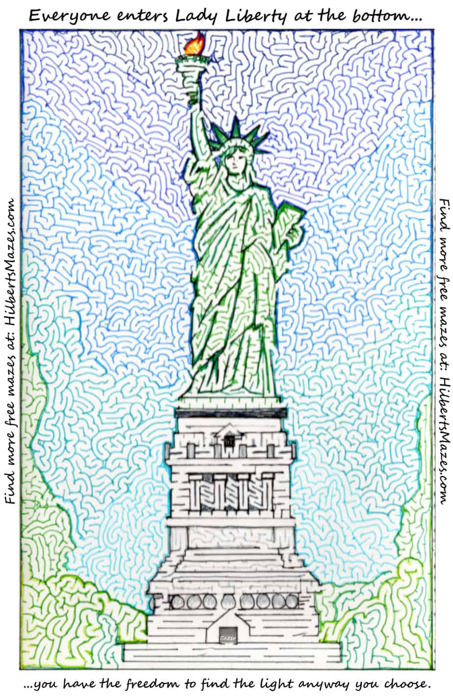 Free Printable Hand Drawn Statue of Liberty Maze. Easily downloadable and printable PDF format. Great Mazes for both kids & adults very challenging but fun.