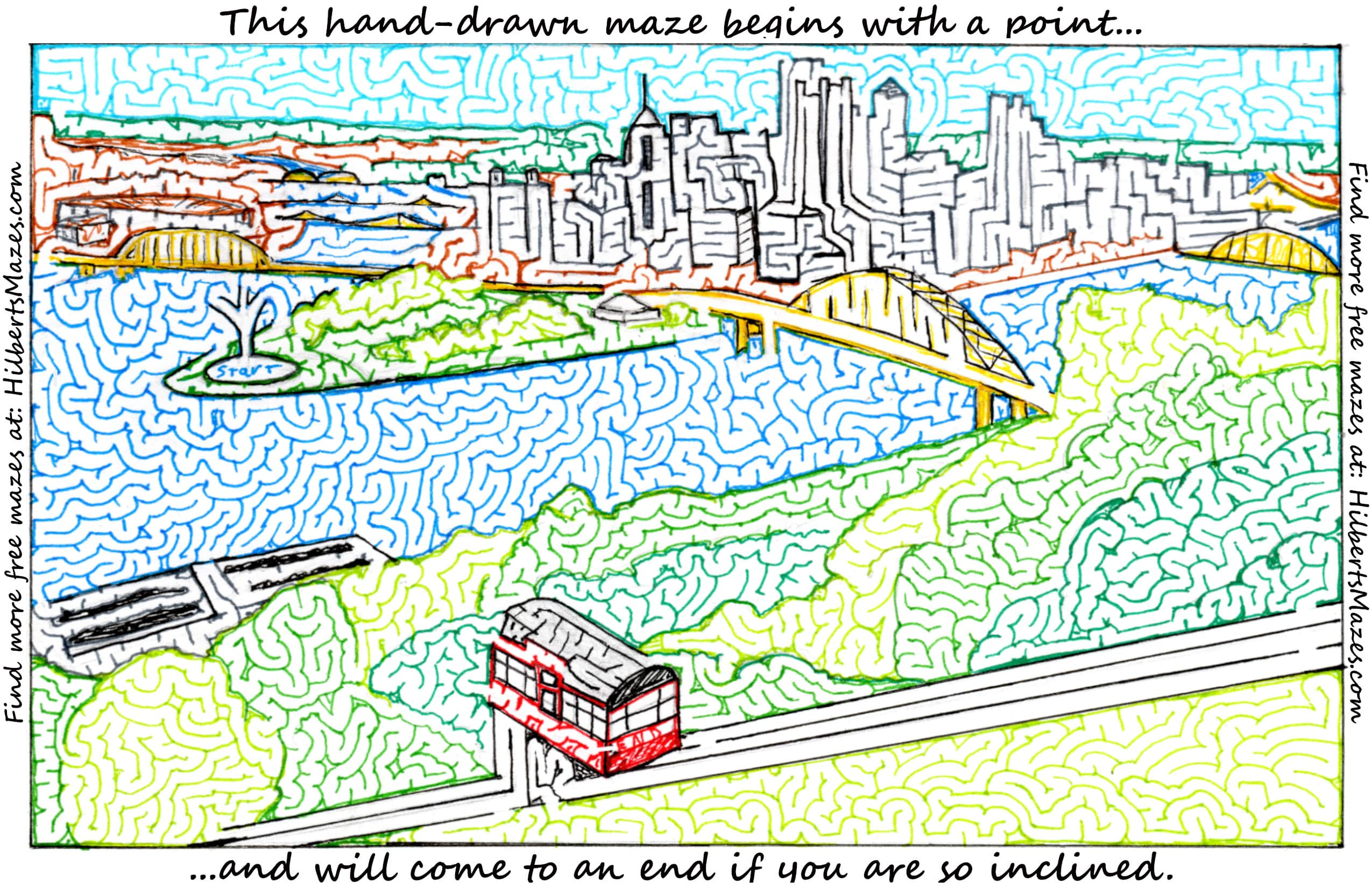 Free Printable Hand Drawn Pittsburgh Maze. Easily downloadable and printable PDF format. Great Mazes for both kids & adults very challenging but fun.