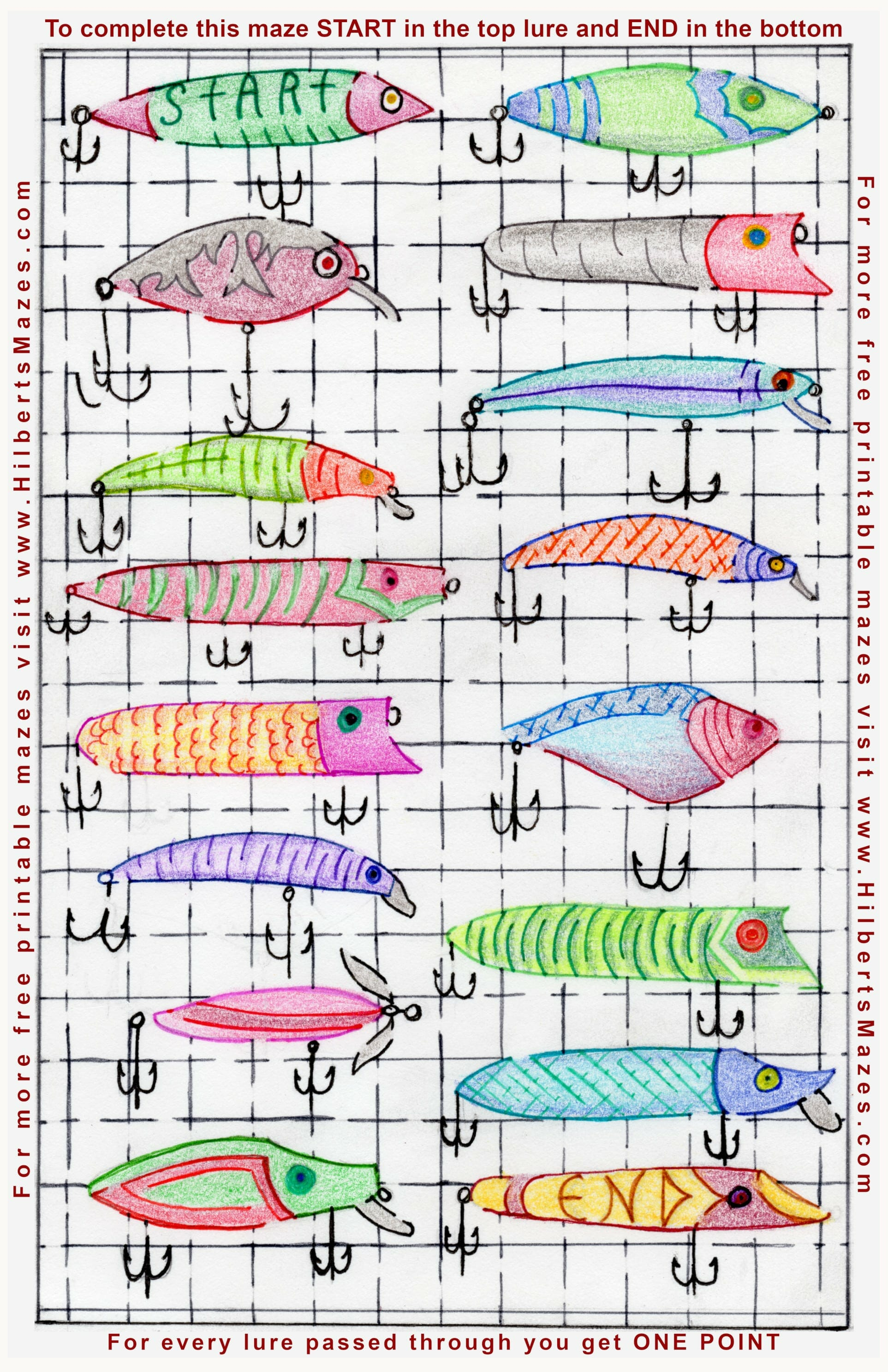 Free Printable Hand Drawn Vintage Fishing Lure Maze. Easily downloadable and printable PDF format. Great Mazes for both kids & adults very challenging but fun.