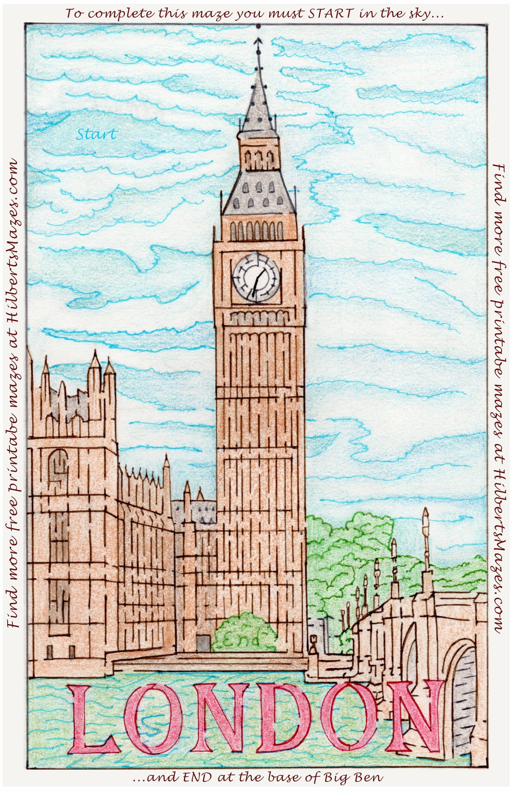 Free Printable Hand Drawn London Big Ben Maze. Easily downloadable printable PDF format. Great Mazes for both kids & adults very challenging but fun.