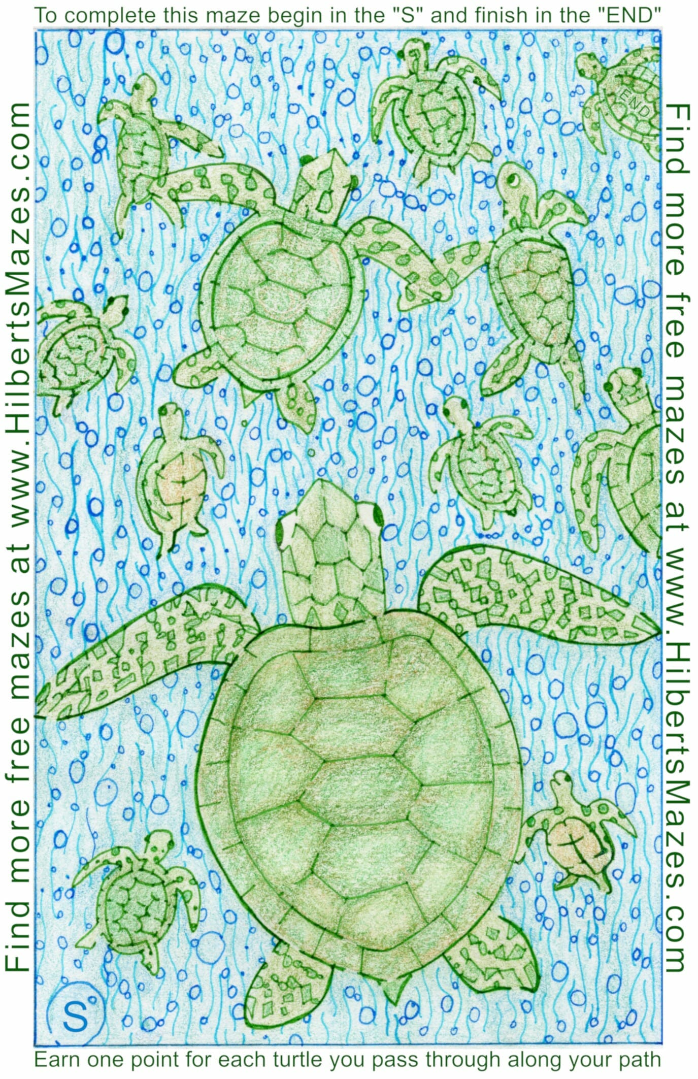 Free Printable Hand Drawn Sea Turtle Maze and Word Puzzle. Easily downloadable free printable PDF format. Great Mazes and Games for both kids & adults very challenging but fun.