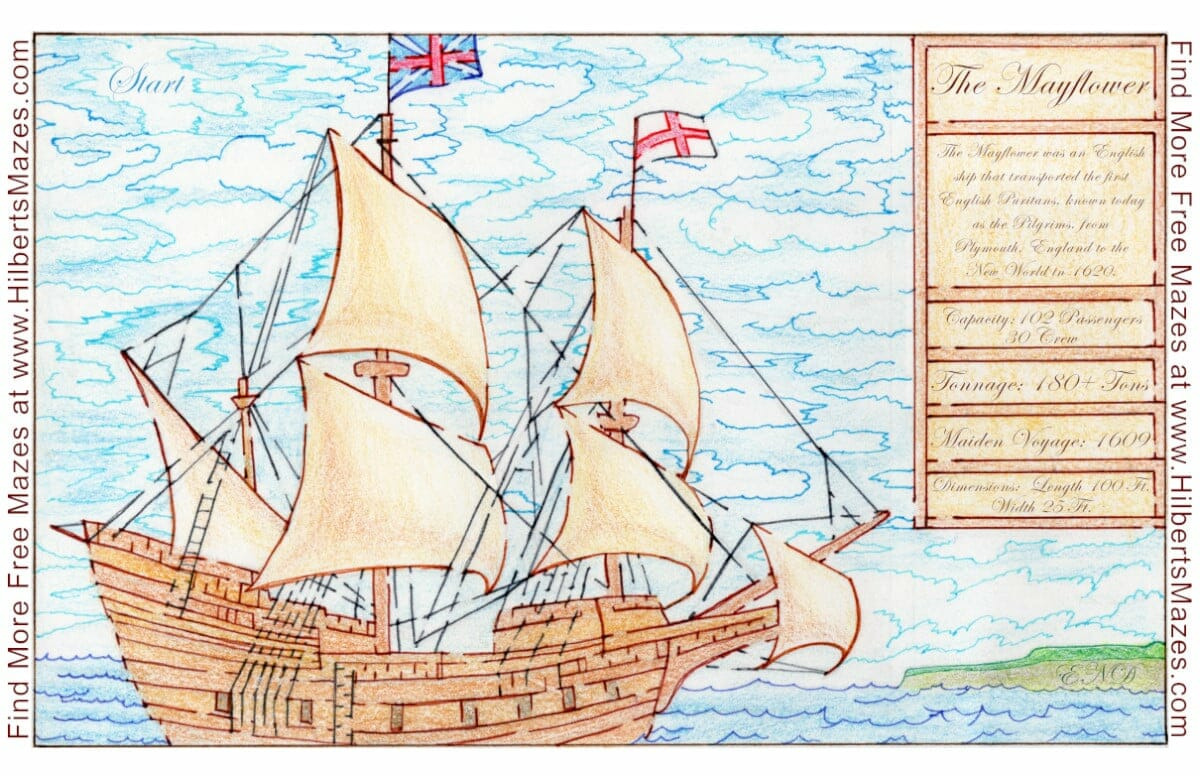Free Printable Hand Drawn Thanksgiving Mayflower Maze and Puzzle. Perfect for Thanksgiving family events or Fall activities. Perfect for teachers, day care and school parties. Easily downloadable free printable PDF format. Great Mazes and Games for both kids & adults very challenging but fun.