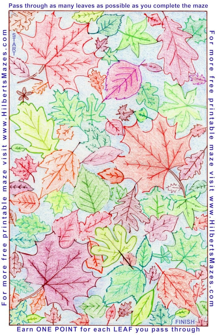 Free Printable Hand Drawn Fall Leaves Maze and Word Puzzle. Perfect for Autumn or Fall parties. Easily downloadable free printable PDF format. Great Mazes and Games for both kids & adults very challenging but fun.