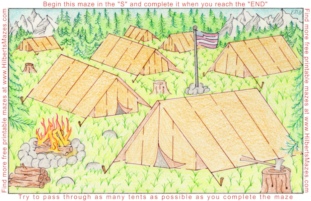 Free Printable Hand Drawn Camping Tent Maze and Puzzle. Perfect for family trips or kids activities. Perfect for Boy Scouts, teachers, day care, church, Summer events and school parties. Easily downloadable free printable PDF format. Great Mazes and Games for both kids & adults very challenging but fun.